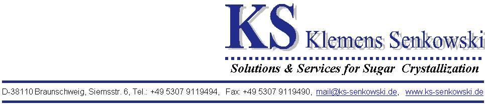 ks klemens senkowski solutions services for sugar crystallization. Black Bedroom Furniture Sets. Home Design Ideas